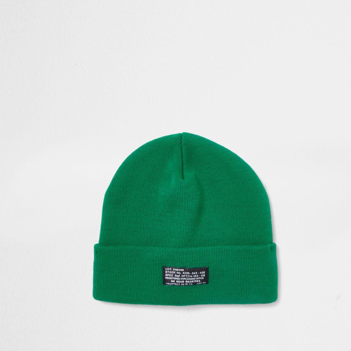 Bright green beanie hat