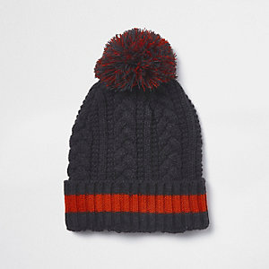 Grey cable knit bobble top beanie hat