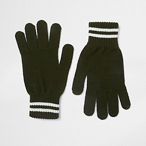 Khaki green stripe cuff gloves