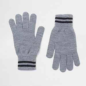 Grey stripe cuff knit gloves