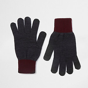 Graue Handschuhe mit Kontrastmanschetten
