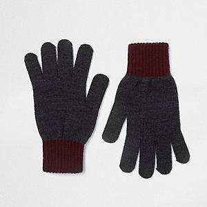 Grijze handschoenen met contrasterende manchetten