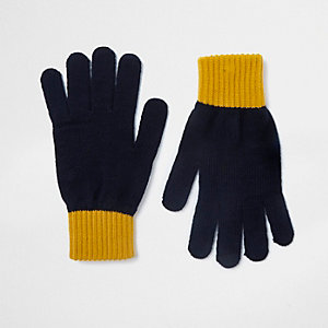 Navy contrast cuff gloves