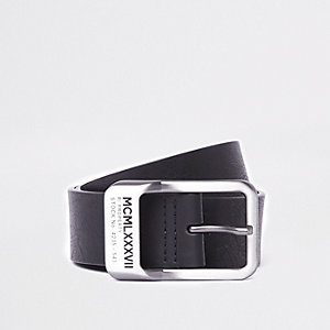 Black 'MCML' silver tone buckle belt