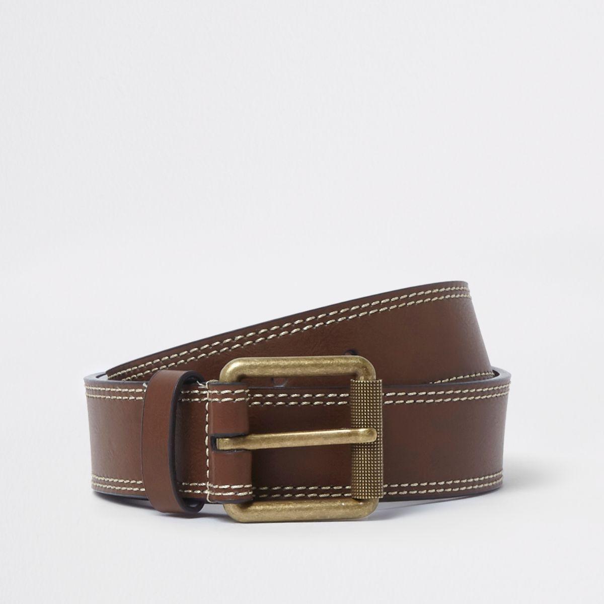 Light brown faux leather buckle belt