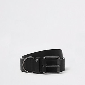 Black metal hoop buckle belt
