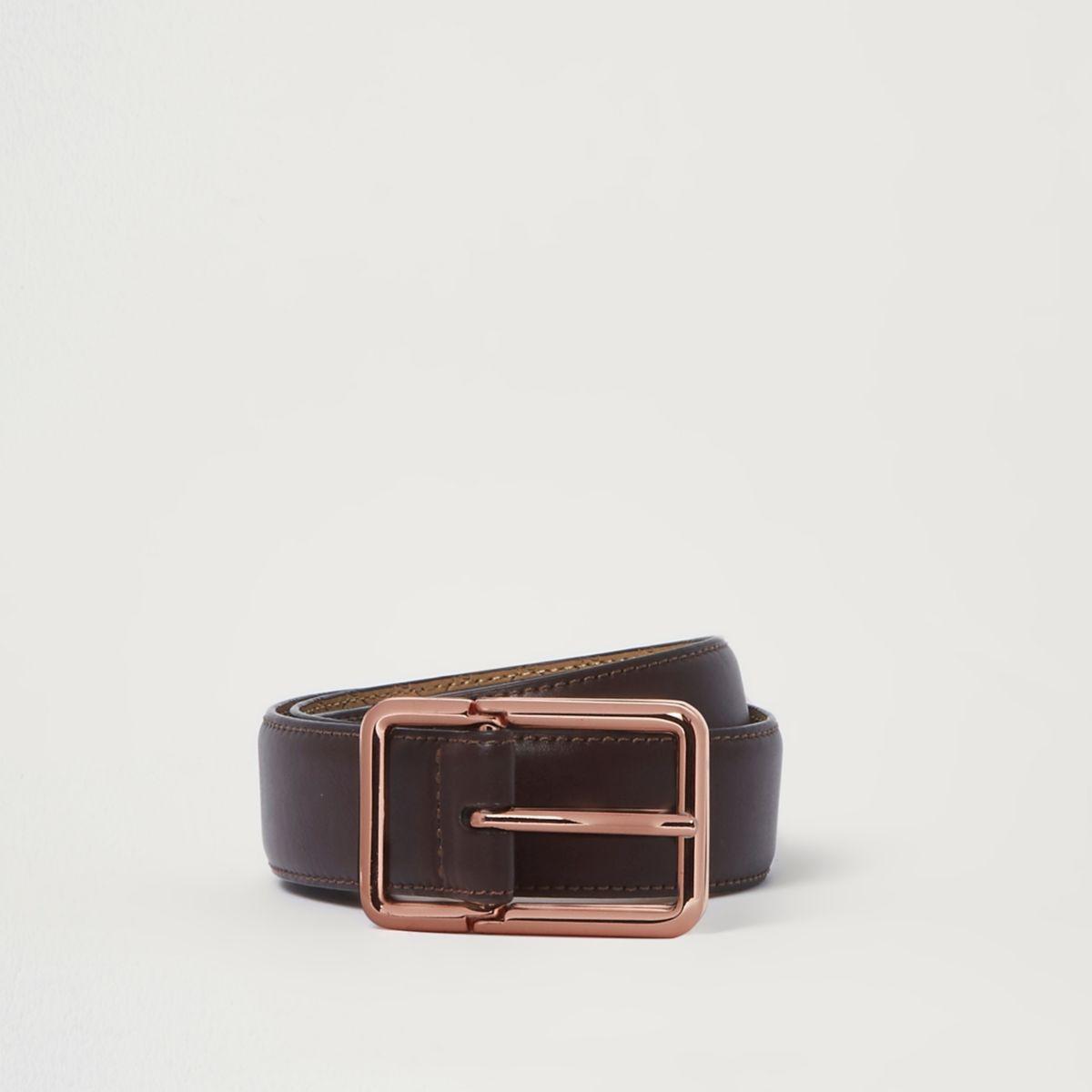 Brown rose gold tone buckle belt