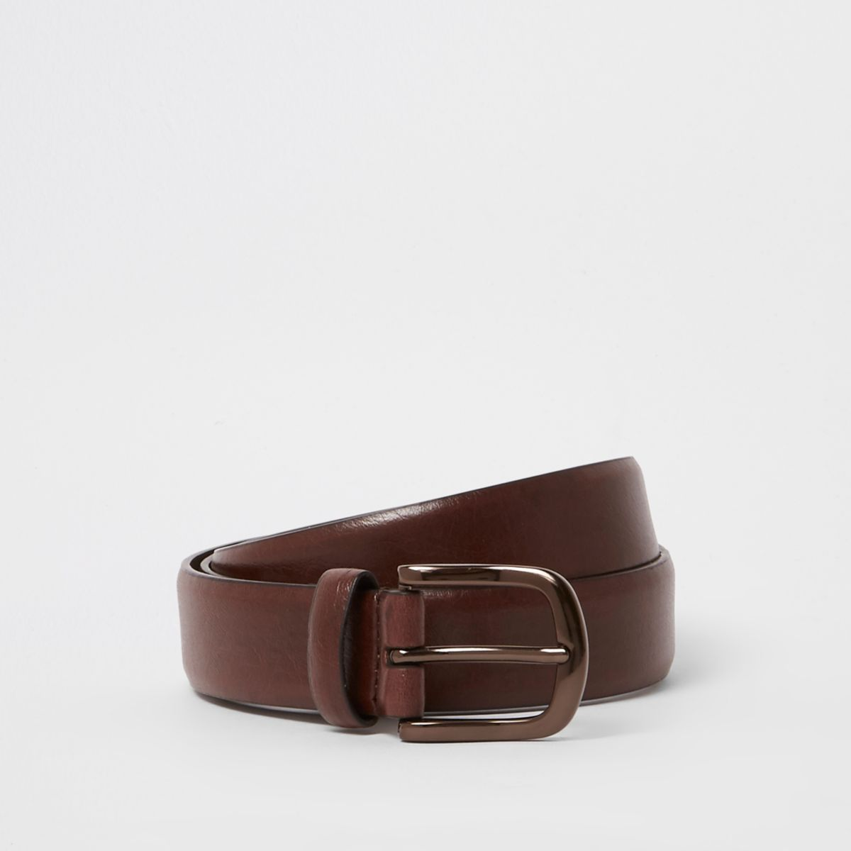 Brown faux leather antique buckle belt
