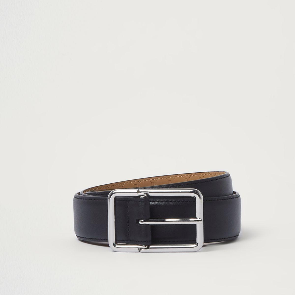 Black sliver tone buckle belt