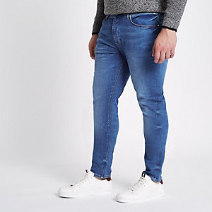 Big and Tall - Sid - Blauwe skinny jeans