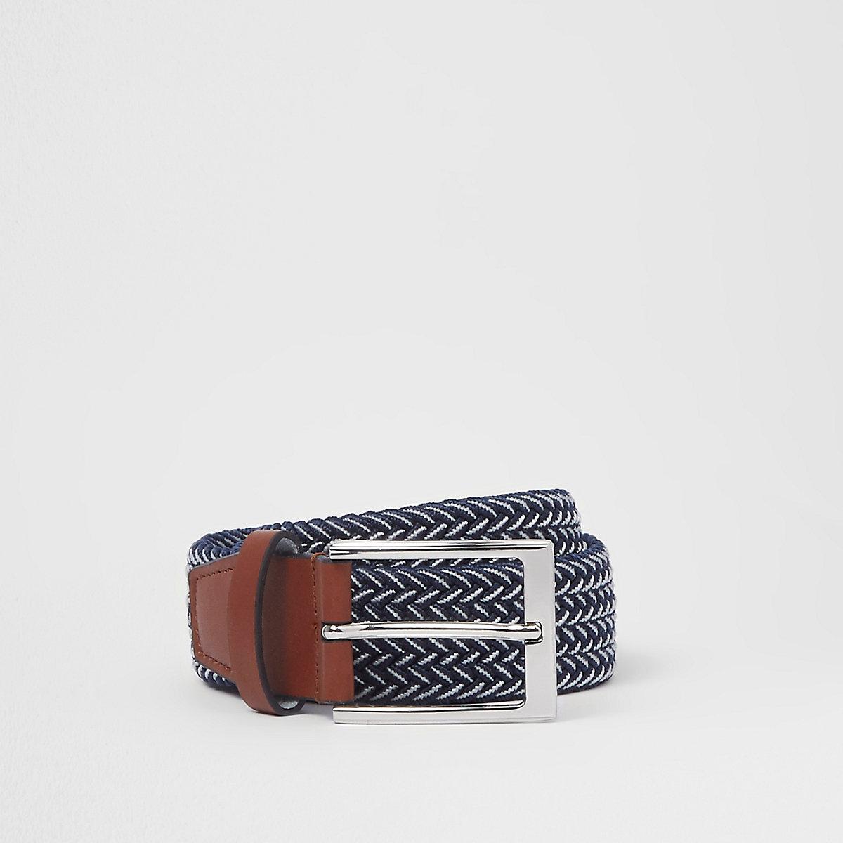 Navy woven silver tone buckle belt