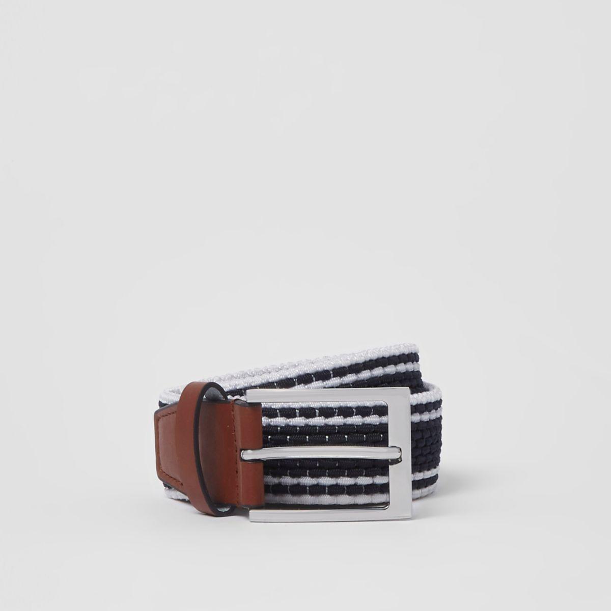 Navy stripe silver tone buckle belt