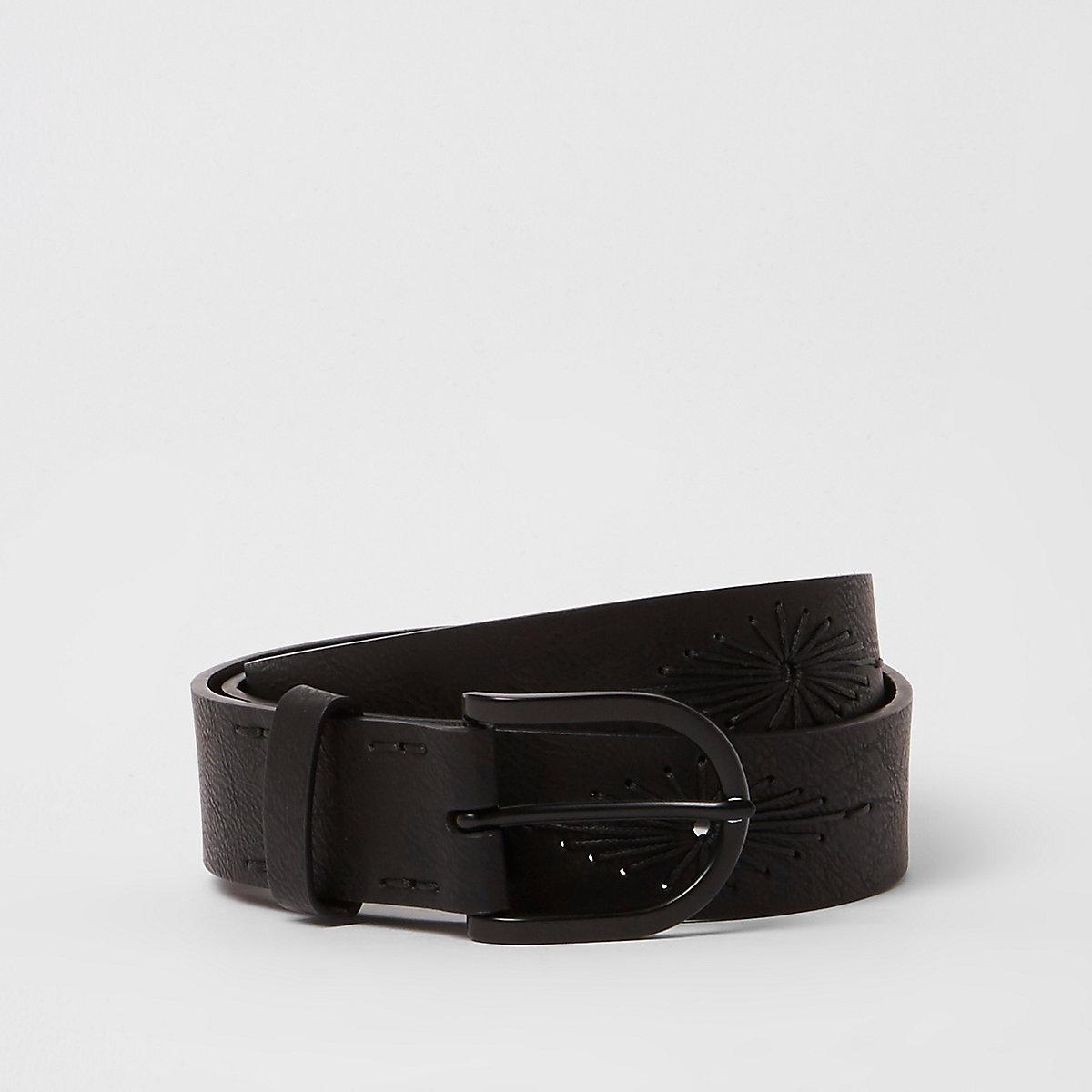 Black embroidered western belt