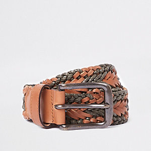 Brown and khaki woven belt