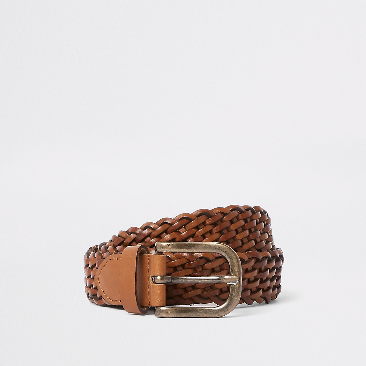 Tan woven leather gold tone buckle belt