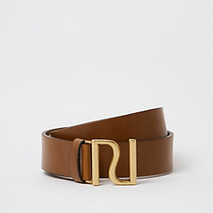 Brown gold tone Ri buckle belt
