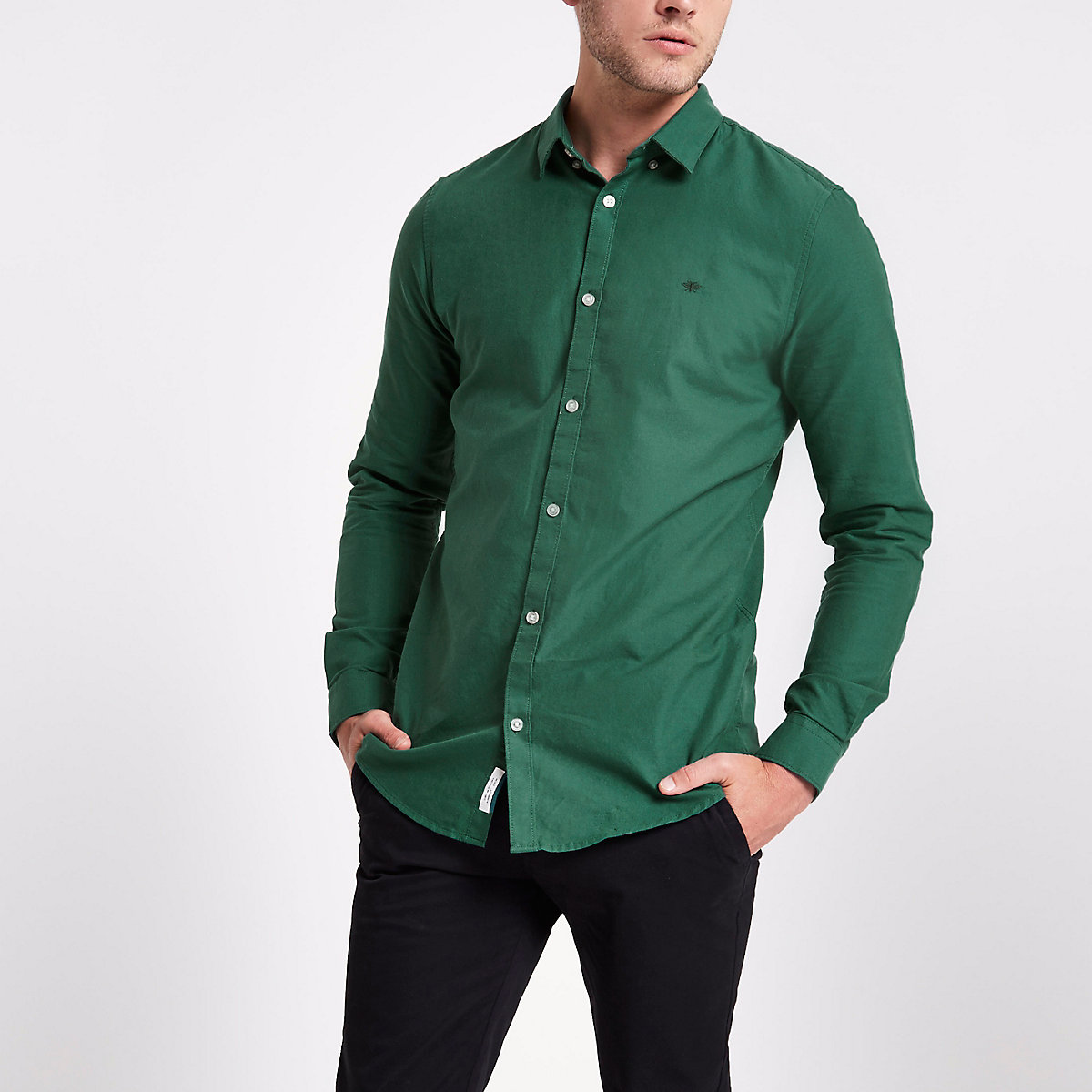 Green wasp embroidered Oxford shirt