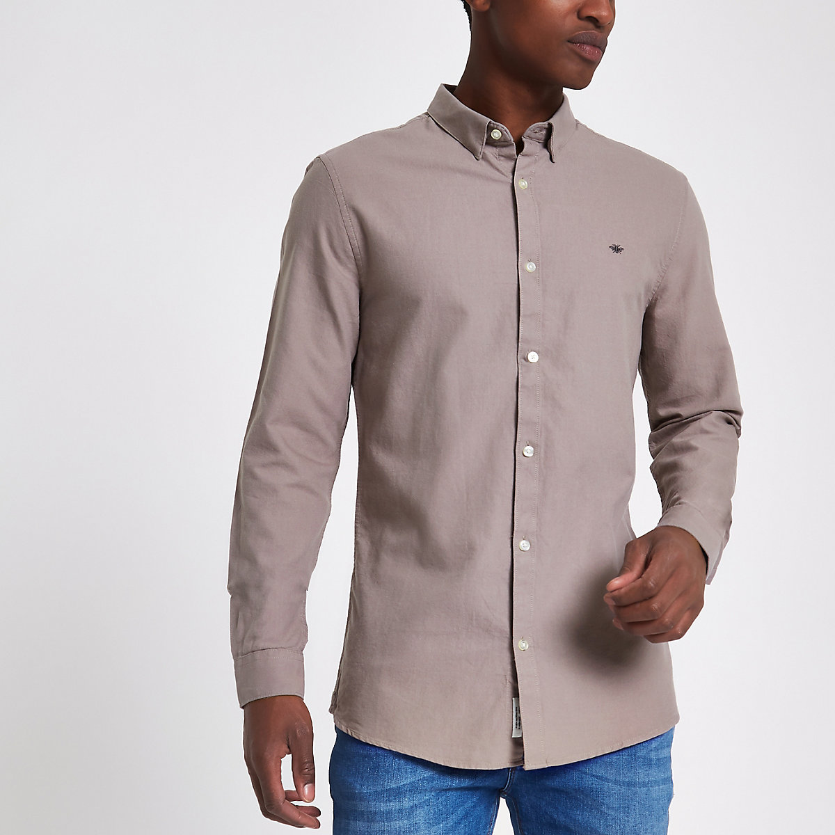 Light brown wasp embroidered Oxford shirt