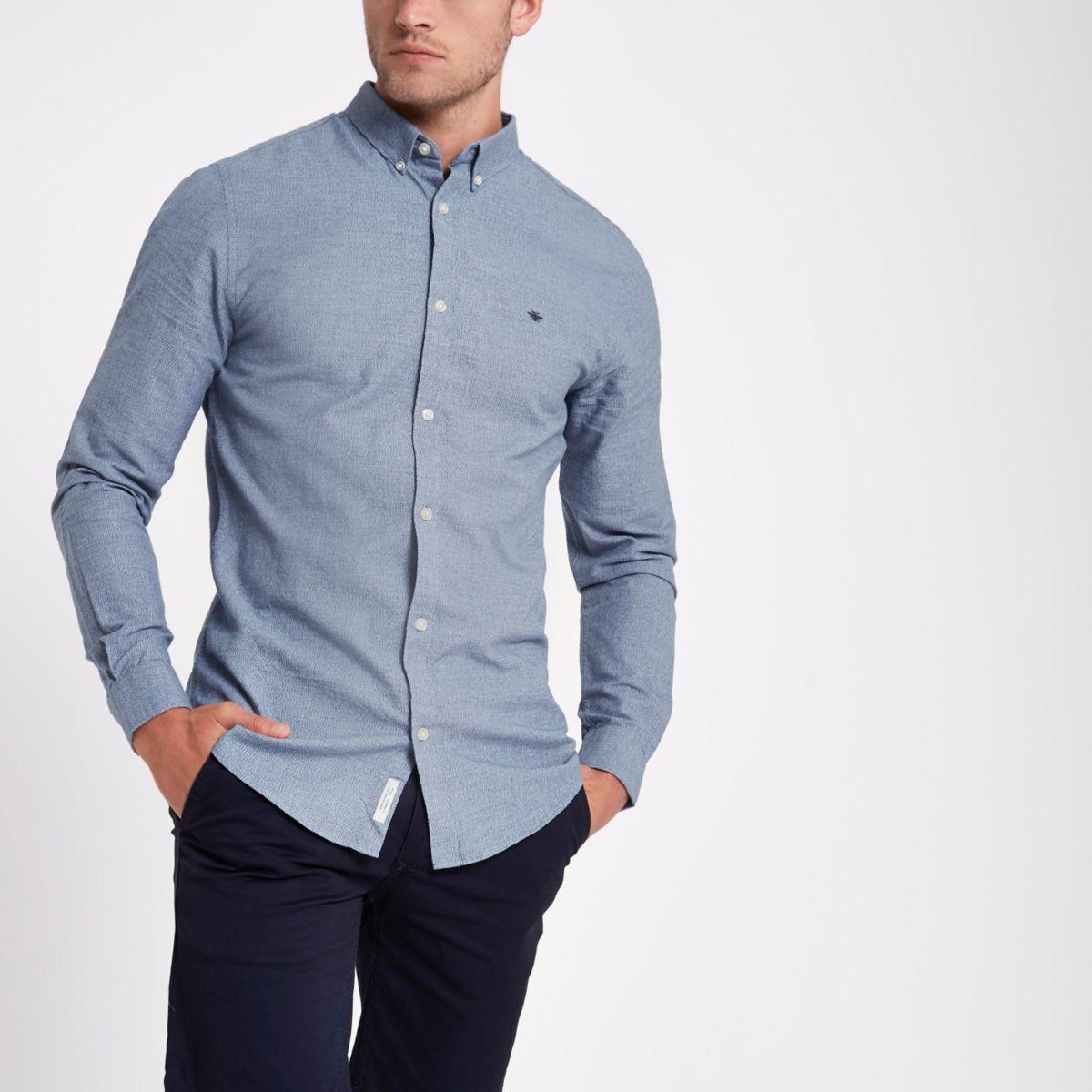 Chemise Oxford bleue à broderie guêpe