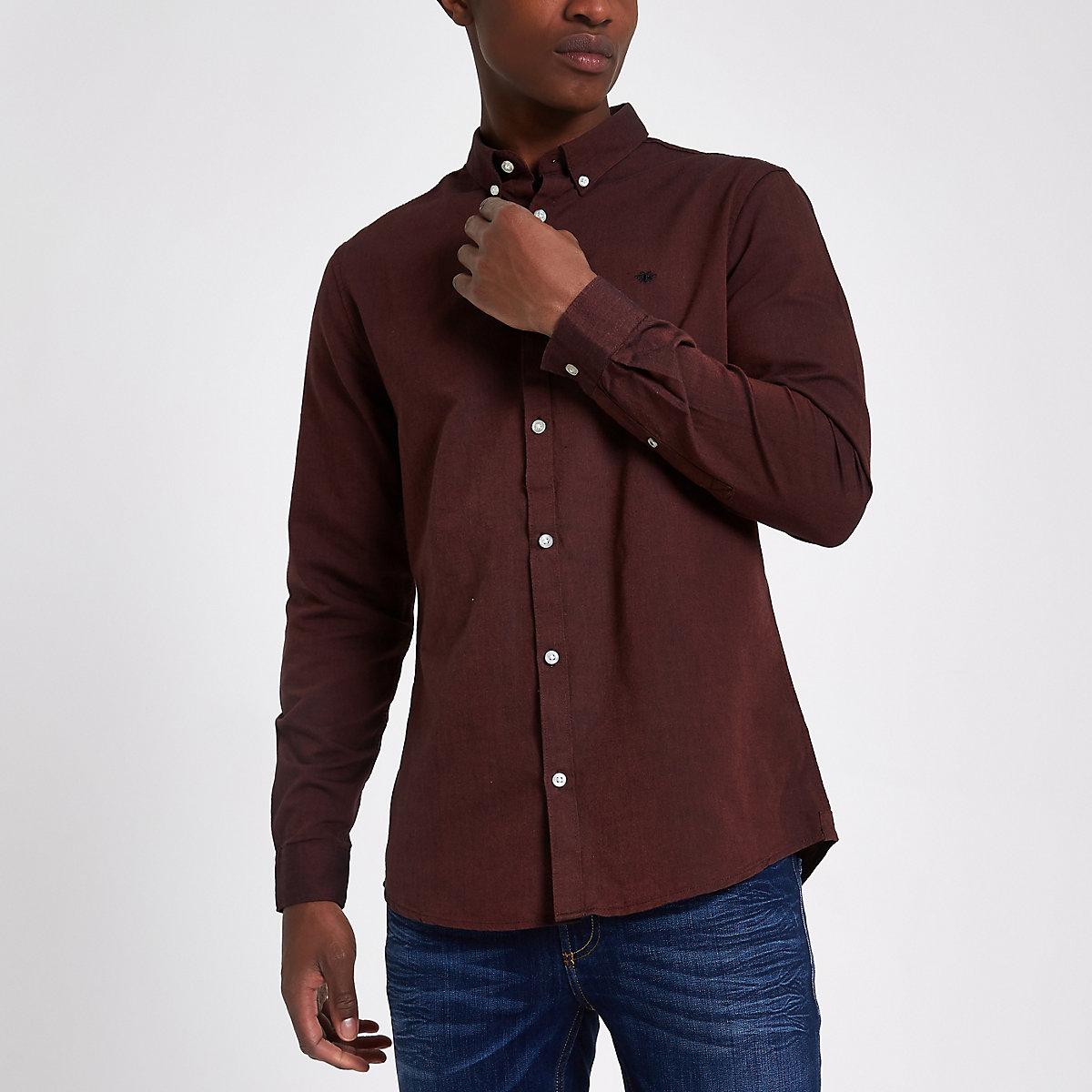 Dark red wasp embroidered Oxford shirt