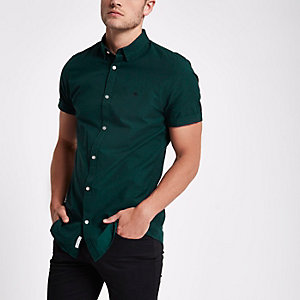Green short sleeve Oxford shirt
