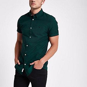 Grünes, besticktes Oxford-Hemd