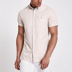 Stone short sleeve Oxford shirt