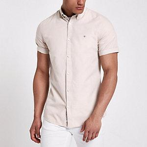 Kiezelkleurig Oxford overhemd met korte mouwen