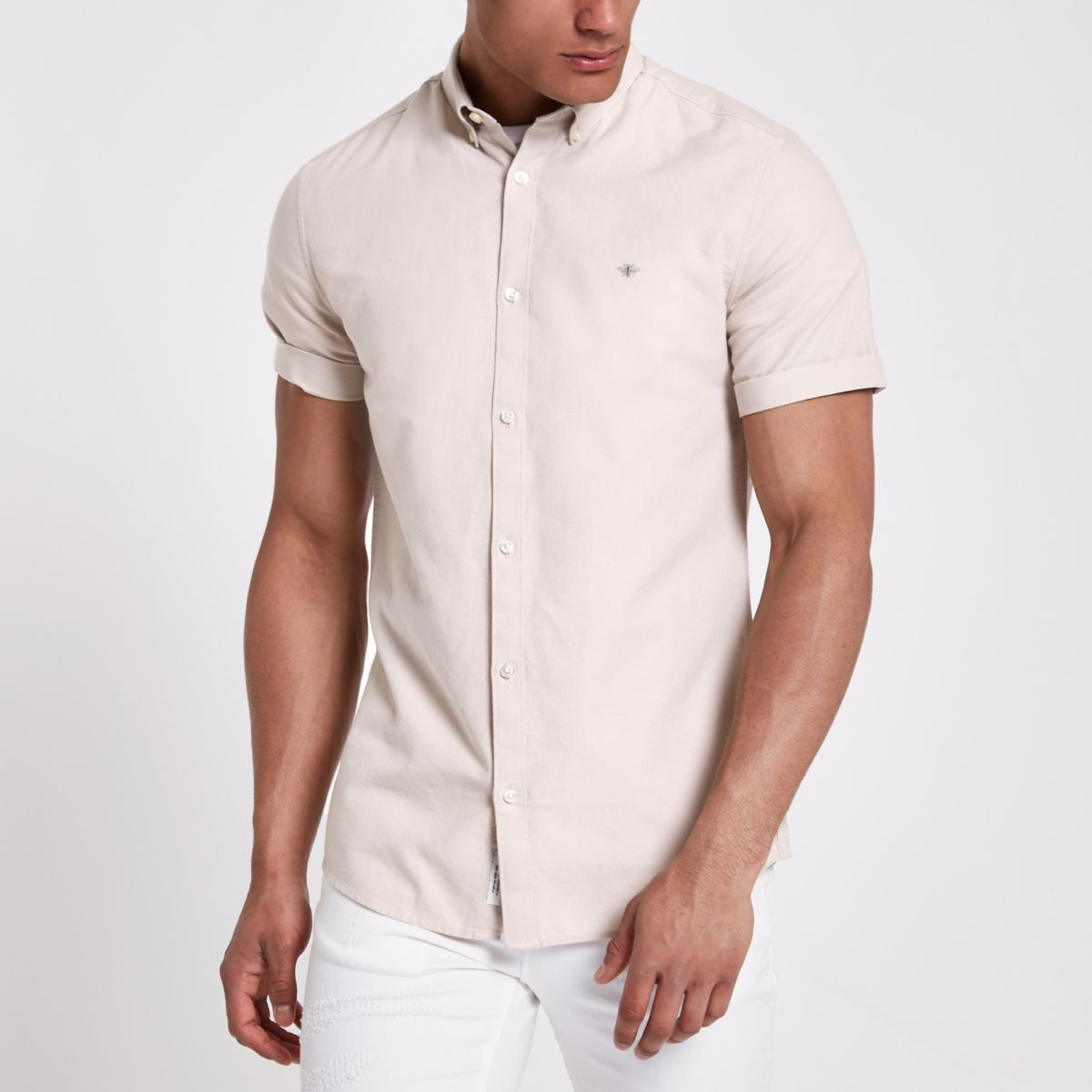 Stone short sleeve Oxford shirt