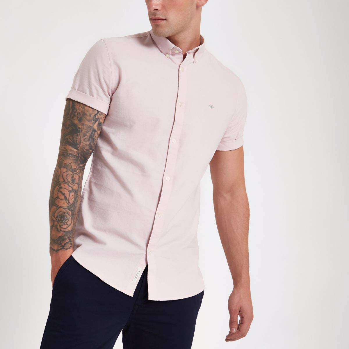 Pink wasp embroidered Oxford shirt