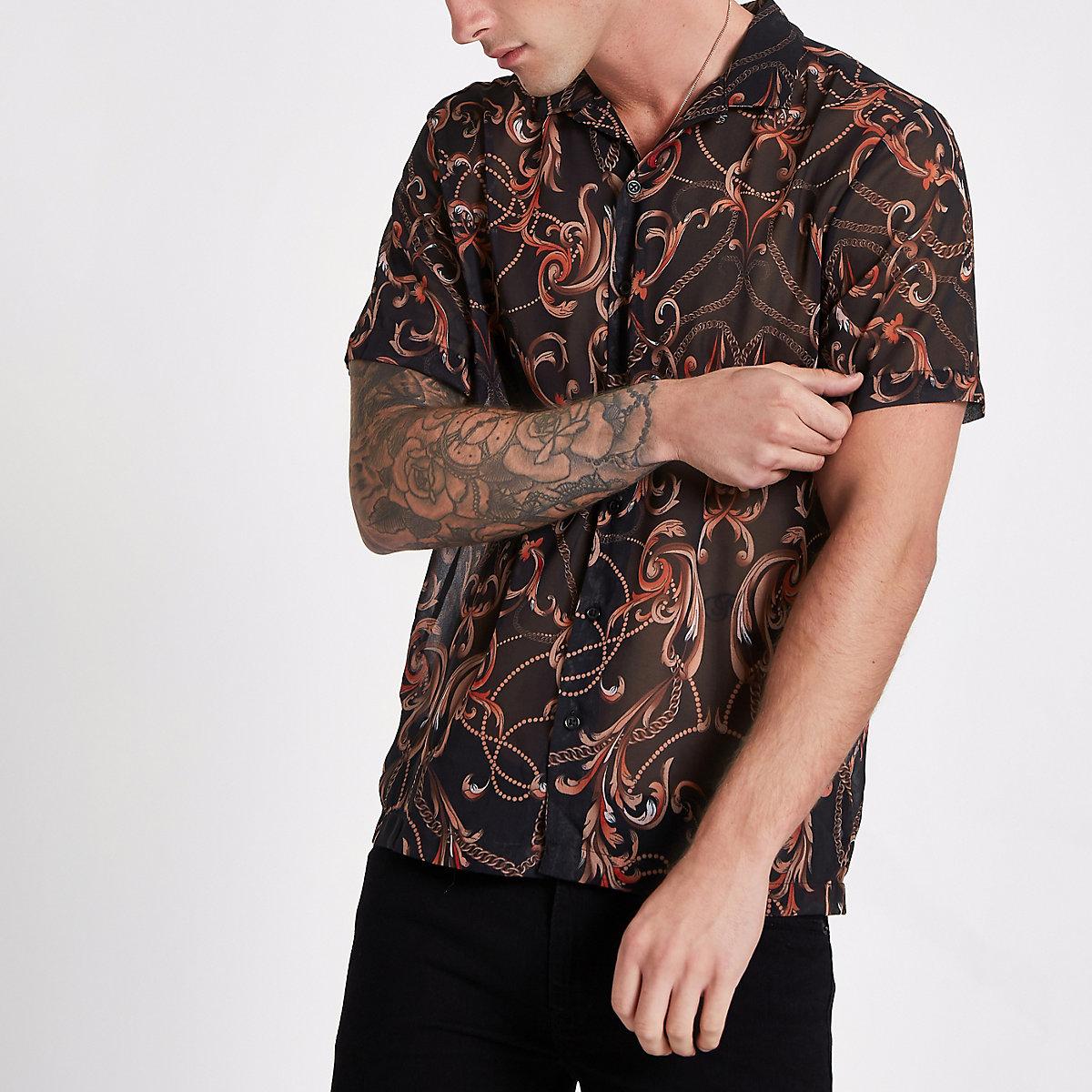 Black chain print sheer revere shirt