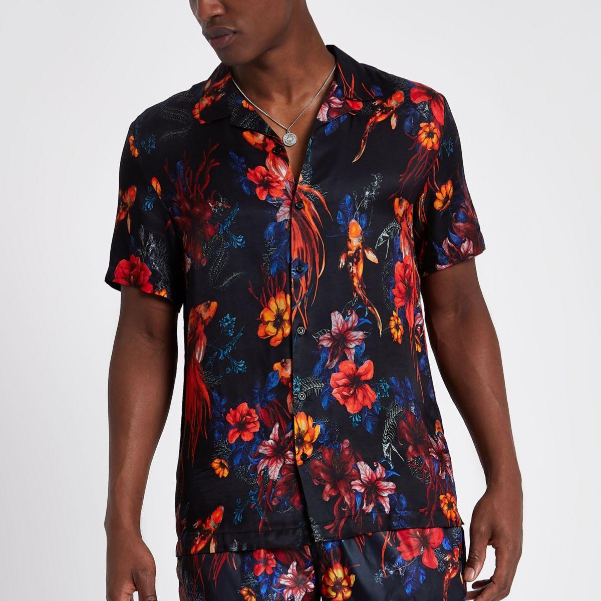 Black floral fish short sleeve revere shirt