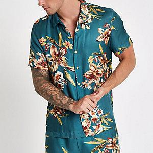 Blauw overhemd met bloemenprint en korte mouwen