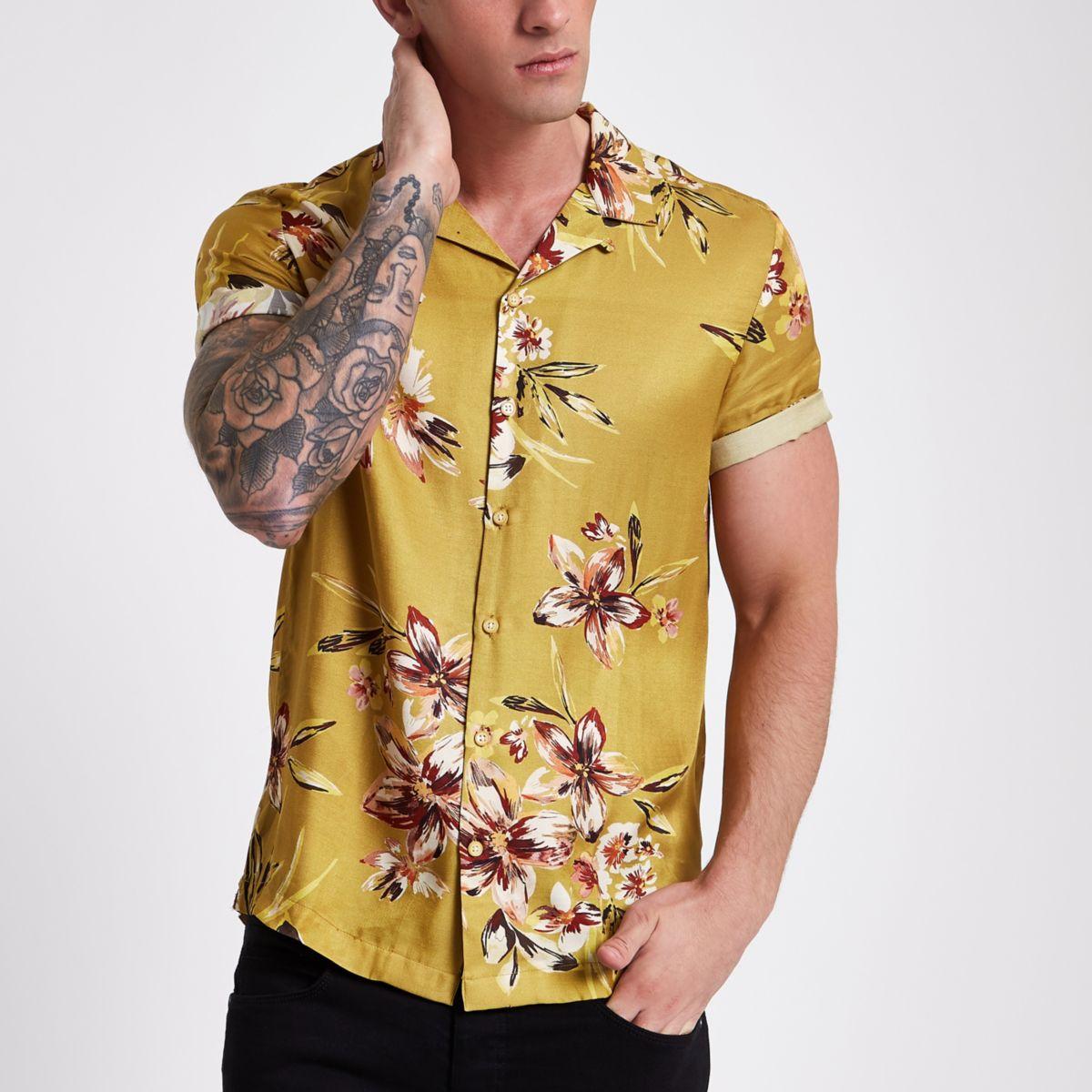 Mustard yellow floral short sleeve shirt