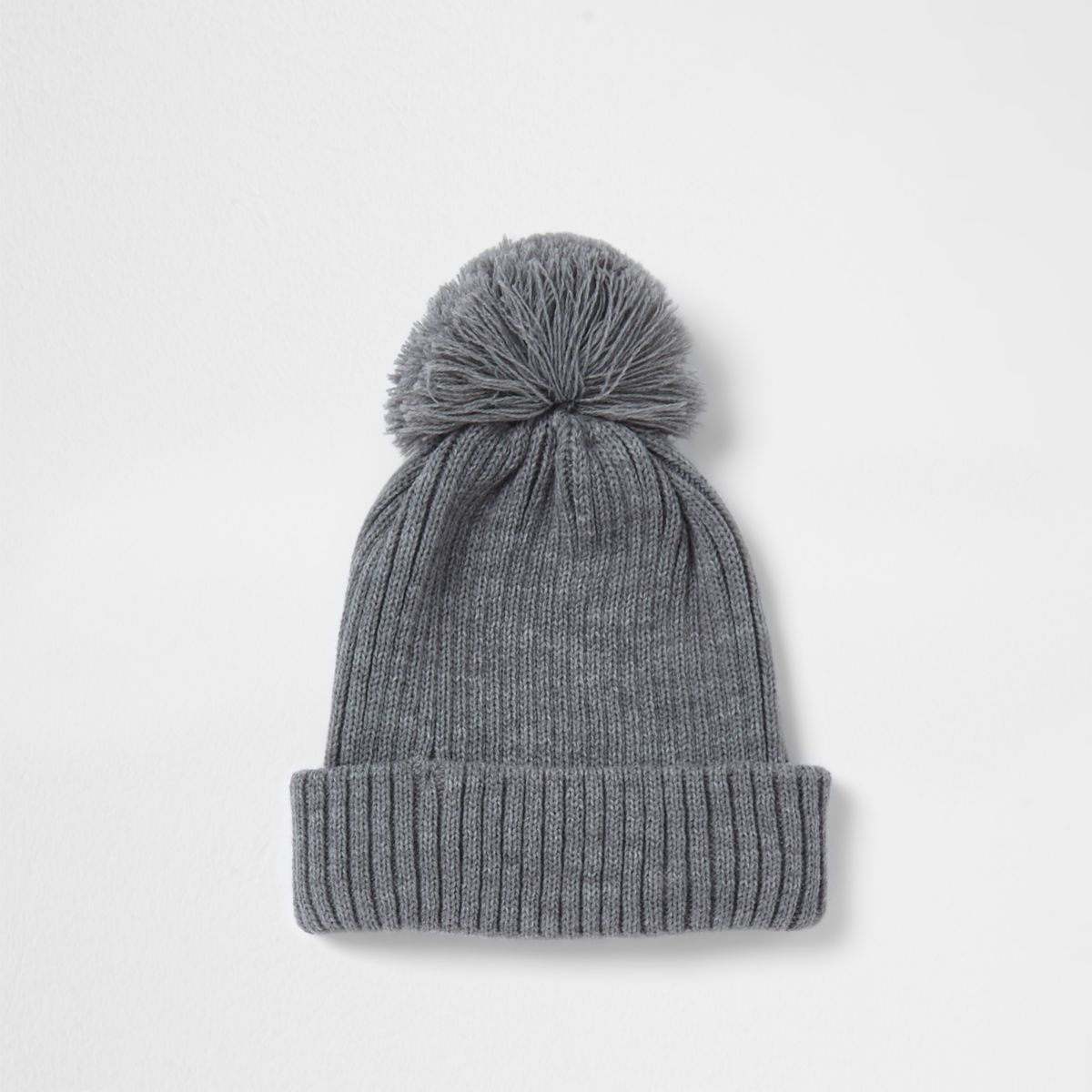 Grey rib knit bobble beanie hat