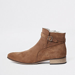 Tan suede buckle strap boots