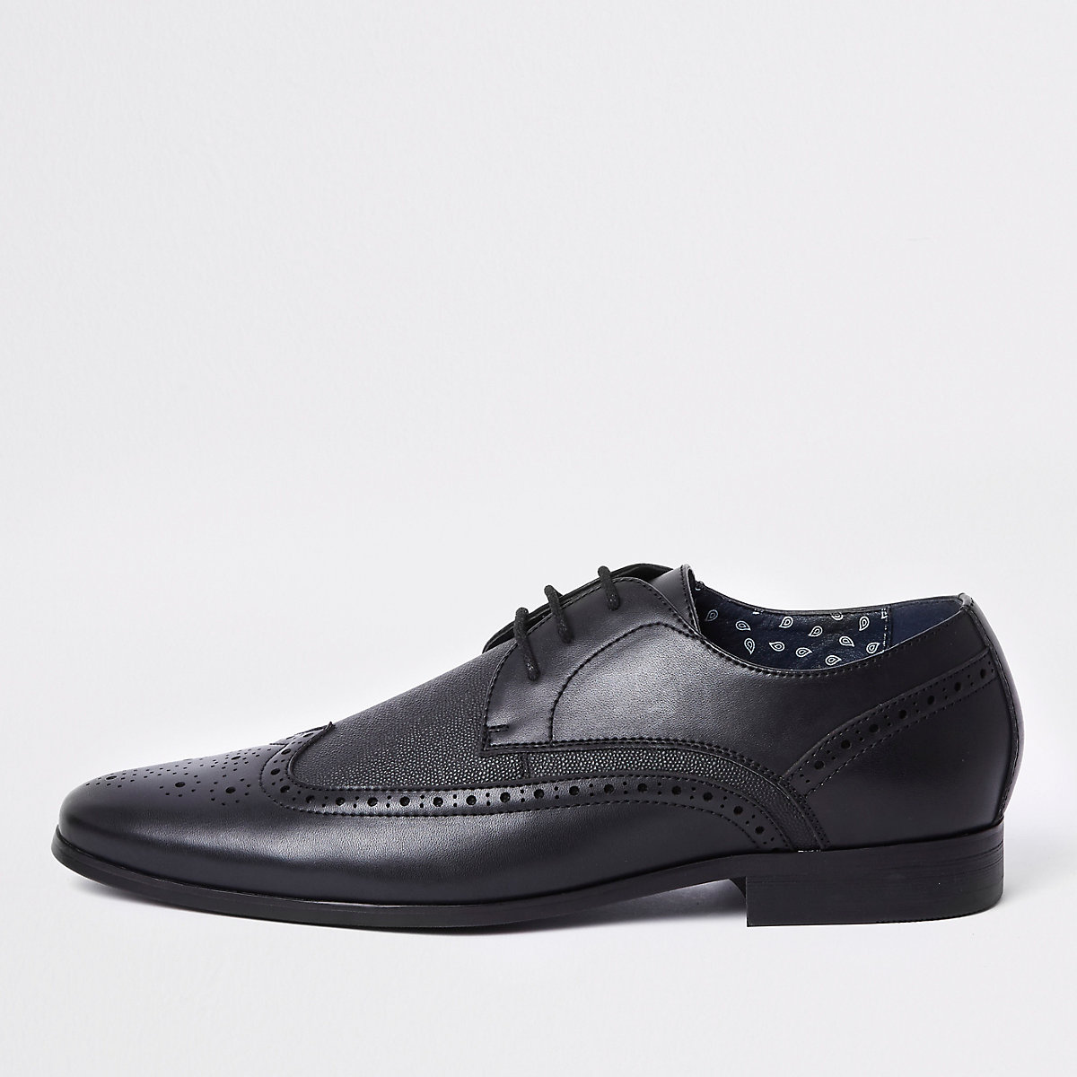 Black textured panel brogues