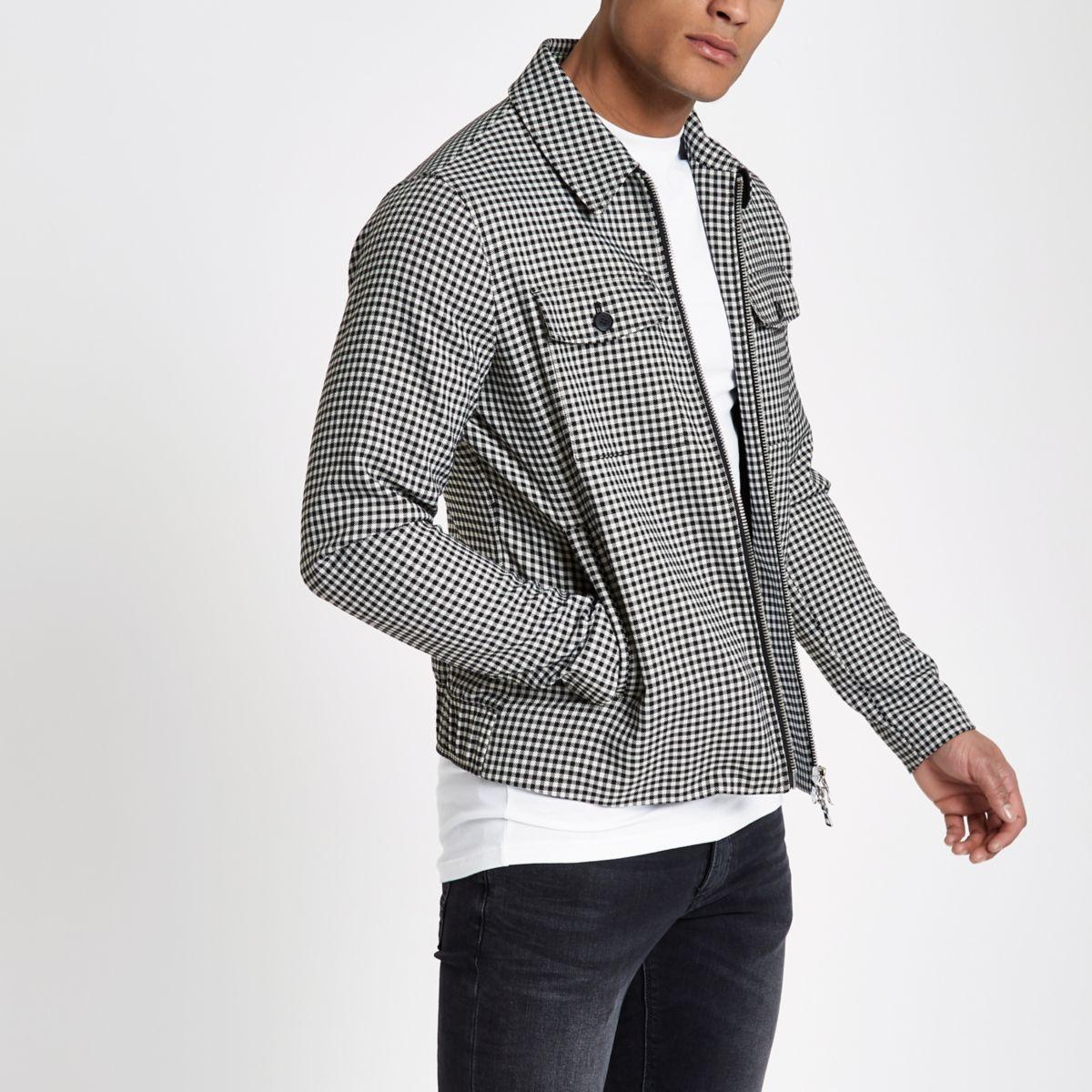 Black gingham print jacket