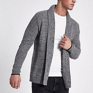Cardigan gris à col châle