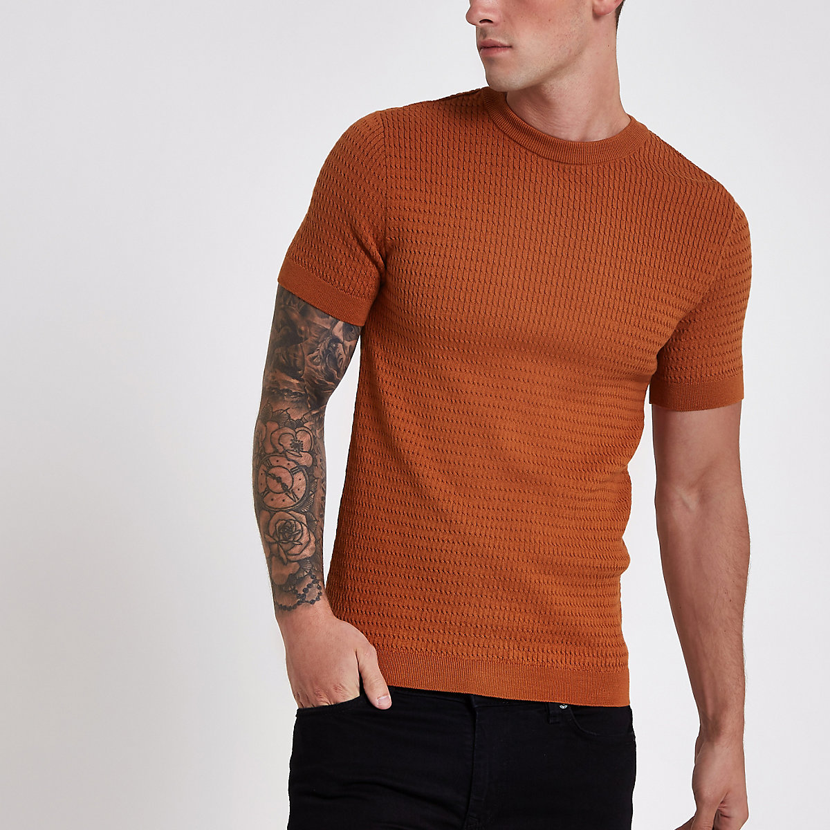 Dark orange muscle fit cable knit T-shirt