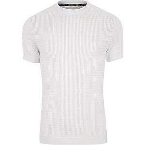 Weißes Muscle Fit T-Shirt mit Zopfmuster