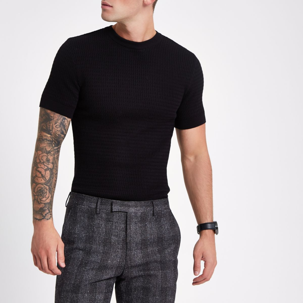 Black cable knit muscle short sleeve T-shirt