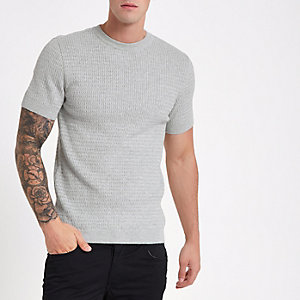 Graues Muscle Fit T-Shirt mit Zopfmuster