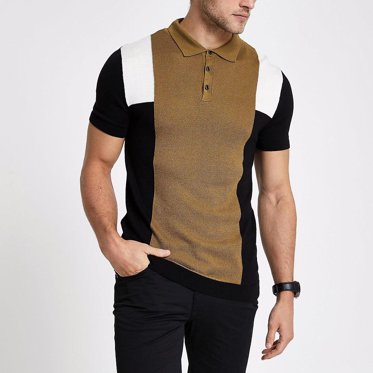 Brown stripe block print slim fit polo shirt