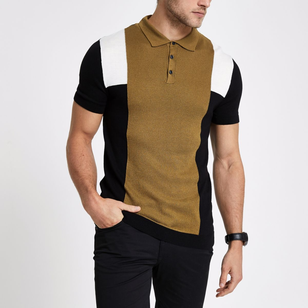 Brown stripe block print slim fit polo shirt