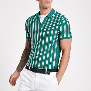 Green stripe slim fit knit polo shirt