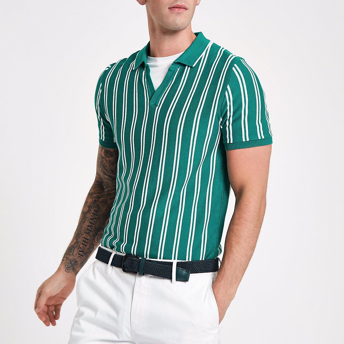 Green stripe slim fit knit polo shirt