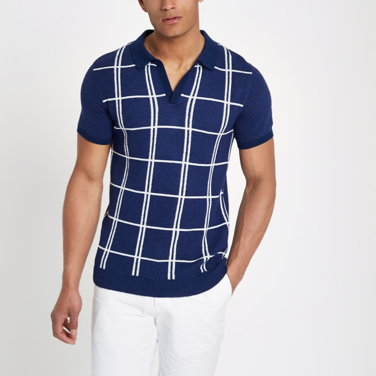 Navy check revere slim fit knit polo shirt
