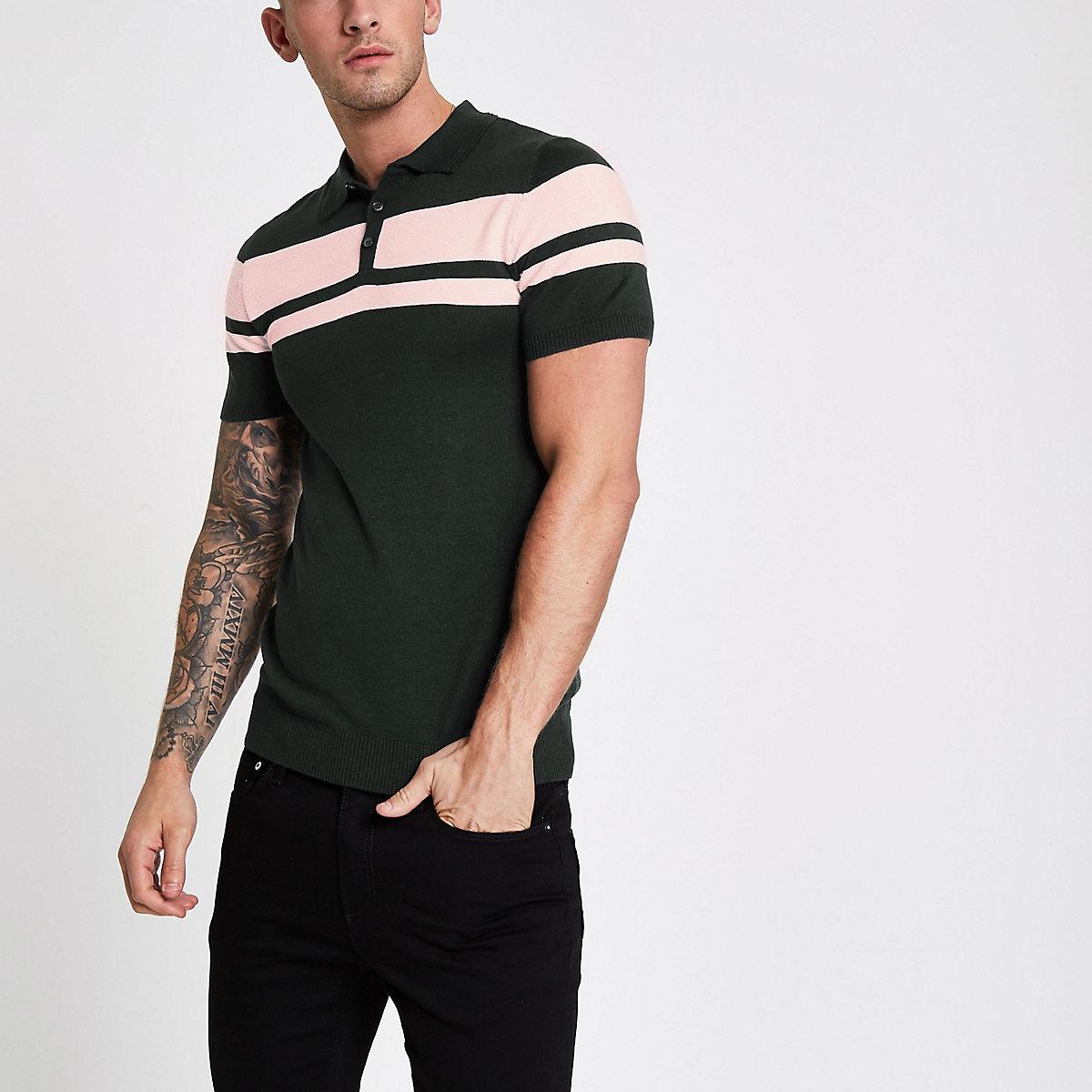 Green stripe block muscle fit polo shirt