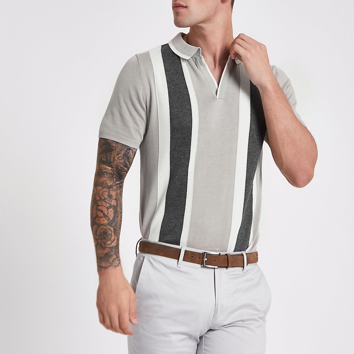 Grey stripe revere slim fit knit polo shirt
